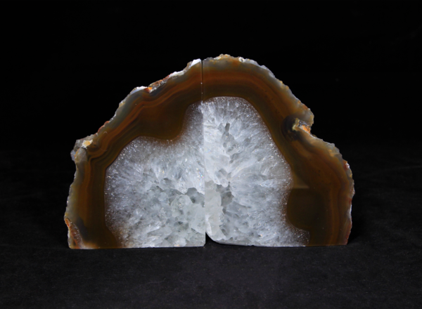 Pair of Dark Amber and White Agate Bookends