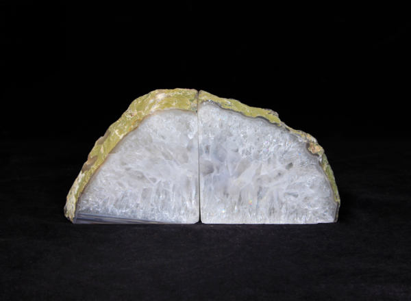 Pair of Yellow and White Agate Bookends