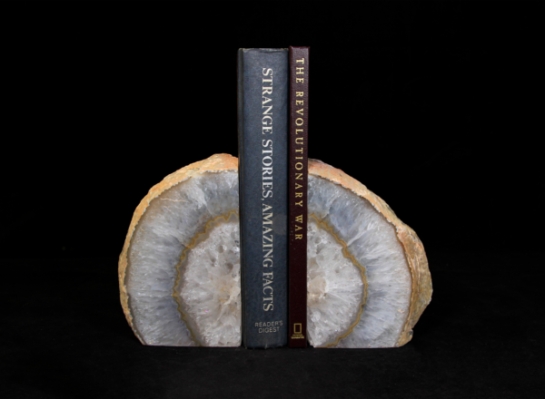 Medium Amber and White Agate Bookends holding up books