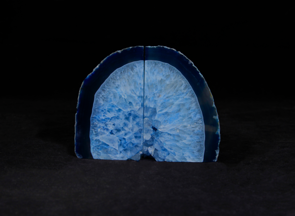 Two Matching Small Blue Agate Bookends