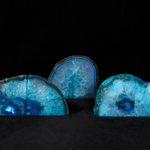 Teal/Green Dyed Agate Bookends, Small