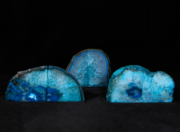 Three pairs of Small Matching Teal Agate Gem Bookends