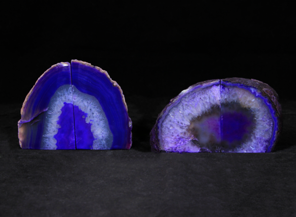 Two pairs of Small Matching Agate Gem Bookends
