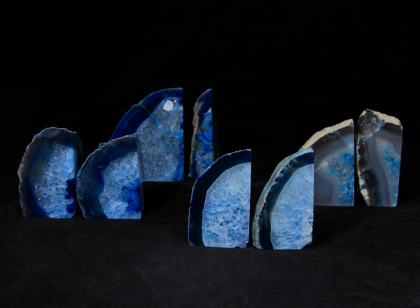 Four pairs of matching small blue Agate bookends