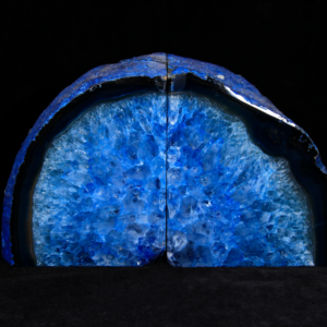 Blued Dyed Agate Bookends, Large