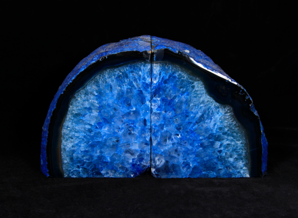 Two Matching Large Blue Agate Bookends