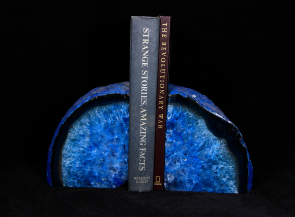 Large Blue Agate Bookends holding up books