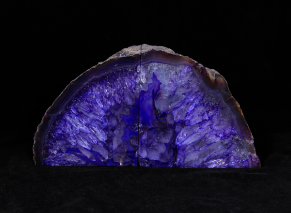Two Matching Large Purple Agate Bookends