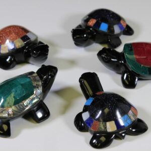 Assorted Inlaid Obsidian Turtles