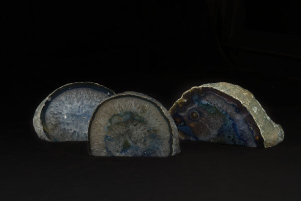 Three Colored Agate Gem Ends