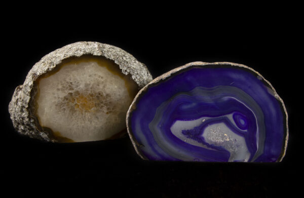 Two Colored Agate Gem Ends