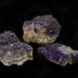Set of three Purple Amethyst Crystal Clusters