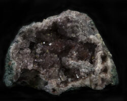 Smokey-colored Amethyst Geode with green rock