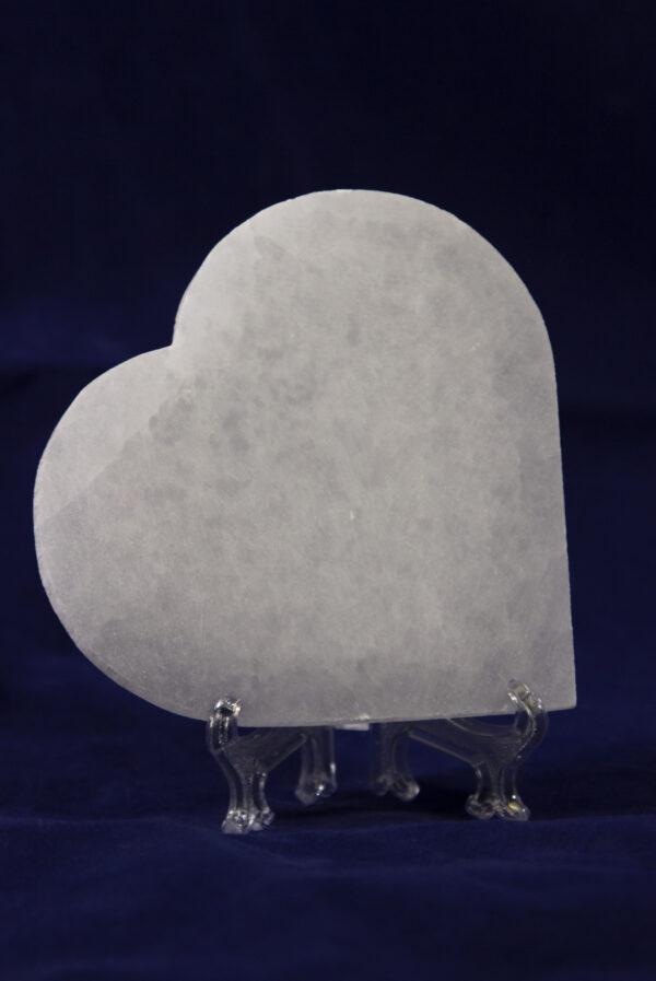 Heart-shaped selenite stone