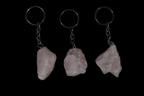 Three Rose colored Quartz Keychains side by side