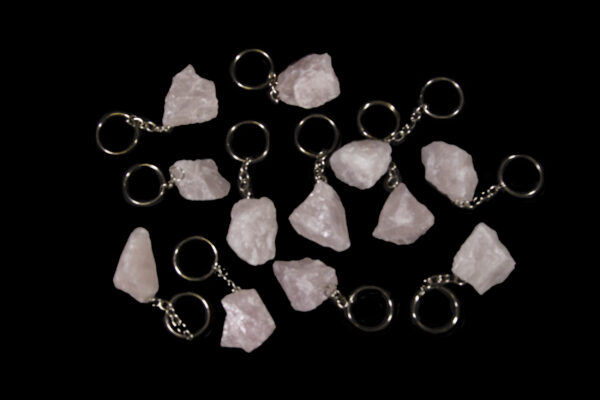 Rose colored Quartz Keychains view from top