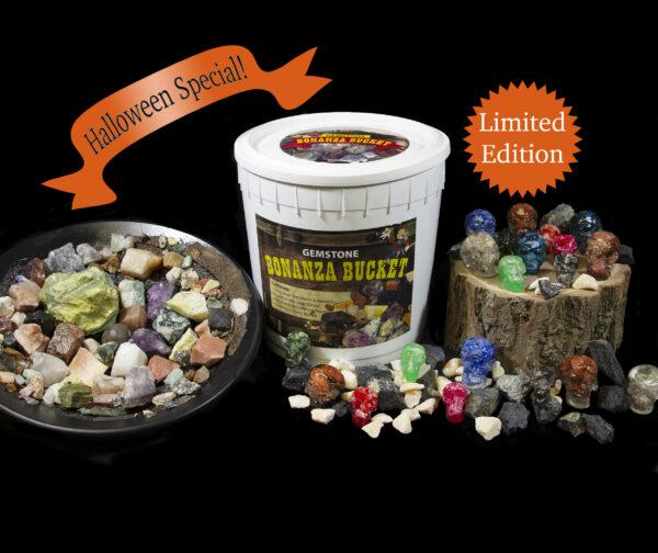 Halloween Bonanza Bucket with colored skulls and black and orange gemstones