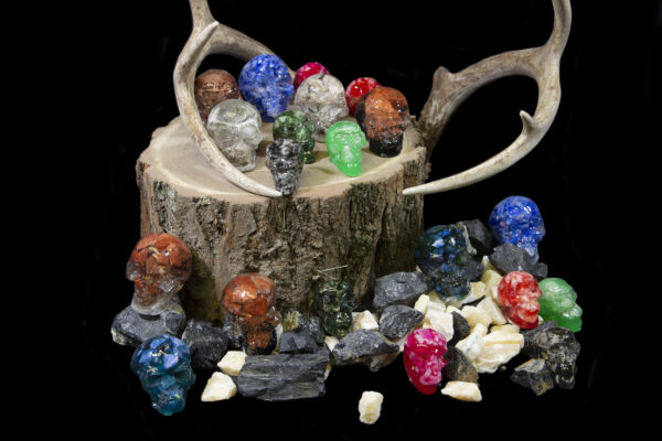Halloween Bonanza Bucket Skulls and gemstones on wooden log next to antlers