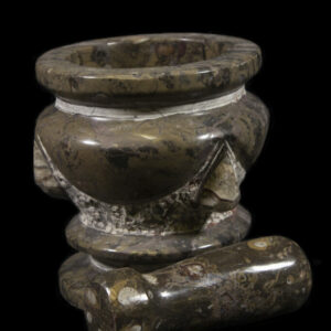 Brown Orthoceras Pestle and Mortar