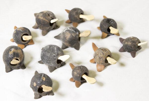 Unpainted Looseneck Turtle Figurines top view